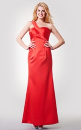Sleeveless A-line Long Satin Dress With Bandage