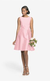 Taffeta Lovely Sleeveless A-Line Dress With V Back