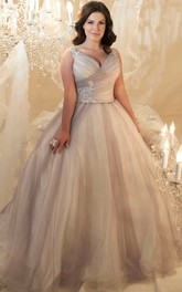 Ball Gown V-Neck Beaded Sleeveless Tulle Plus Size Wedding Dress With Criss Cross And Lace Up