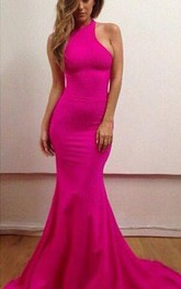 Sexy Haler Mermaid Prom Dresses Sweep Train Evening Dresses