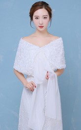 New Three-dimensional Rose Sequins Shoulder Chiffon With White Shawl