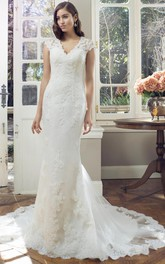 Sheath Cap-Sleeve V-Neck Lace Wedding Dress With Illusion
