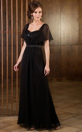 Short-Sleeved A-Line Floor-Length Mother Of The Bride Dress With Sequins