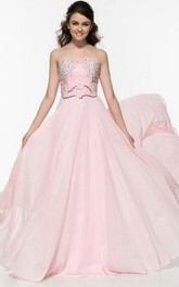 A-Line Sweetheart Beading Sequins Prom Dress