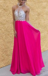 Modern Chiffon Halter Sequins Fuchsia Prom Dress 2018 Sleeveless Floor-length