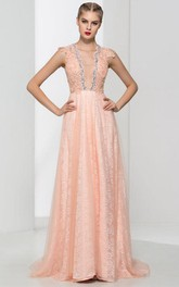 V-Neck Appliques Beaded Lace Prom Dress