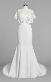 Chiffon Mermaid Wedding Dress With Lace Cape and Satin Sash