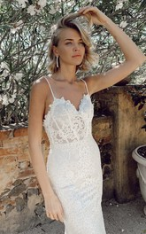 Spaghetti Straps Simple Trumpt Sleeveless Lace Court Train Wedding Dress