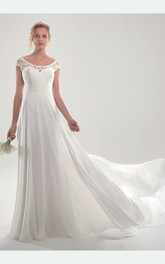 Unique Short Sleeve Chffon Open Back Bridal Gown