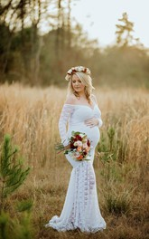 Lace Mermaid Illusion Long Sleeve Off-the-shoulder Maternity Wedding Dress