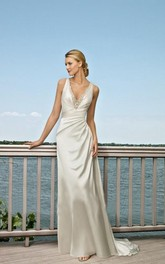 A-line Straps Sweep Train Elastic Woven Satin Wedding Dress