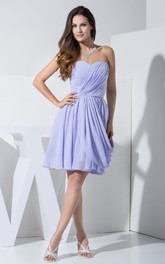 Chiffon Sweetheart Criss-Cross Ruching Dress With Pleating