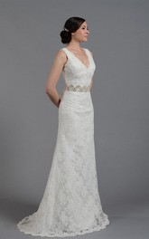 Gorgeous Lace V-Neck Sleeveless Bridal Gown With Crystal Detailed Waistbelt
