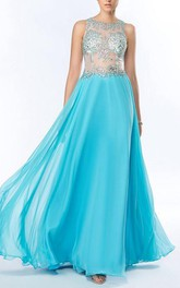 Sexy Beading Sequins A-Line Chiffon Floor Length Prom Dress