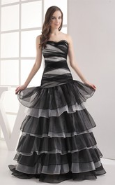 Two-Tone A-Line Stress and Gown With Tiers