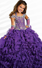 Ruffle Ball Gown Halter Corset Flower Girl Dress with Beading