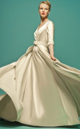 A-Line Floor-Length Jeweled V-Neck Half-Sleeve Satin Wedding Dress With Cape