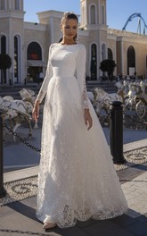 Long Sleeve A-line Lace Modest Wedding Dress With Button Back And Brush Train