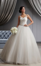 Spaghetti-Straps Beaded A-Line Dress With Tulle Overlay and Appliques