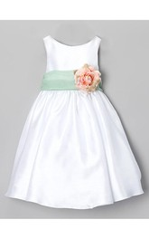 Bateau Neckline Sleeveless A-line Satin Long Dress With Flower