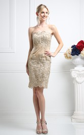 Pencil Short Strapless Sleeveless Lace Backless Dress With Beading