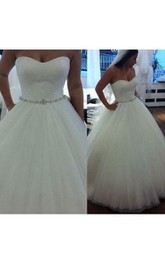 Sweetheart Pleated Tulle Ball Gown With Lace Bodice