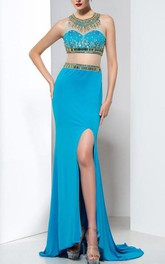 Two-Piece Beading Split-Front Prom Dress