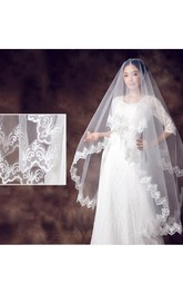 New Lace Applique Simple Style Beautiful Bridal Veil