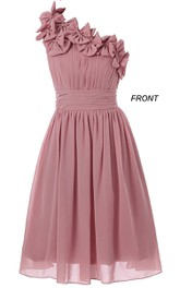 One-shoulder A-line Chiffon Dress With 3D Flowers