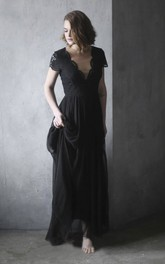 Black Chiffon Wedding Dress With Scalloped V-neck Lace Appliques Short Sleeve And Illusion Back