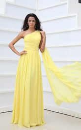Vintage Empire One-Shoulder Chiffon A-Line Gown With Pleats