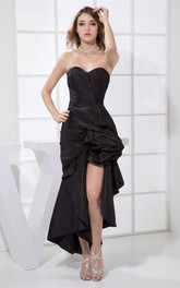 Asymmetrical Ruched Sweetheart Front Slit and Dress With Pick Up
