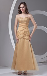 Sweetheart Column A-Line Ankle-Length Gown With Crystal