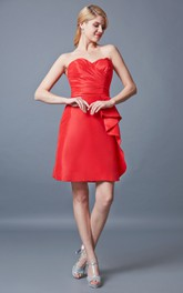 Stunning Sweetheart Ruched Short Satin Dress With Side Draping