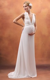 Backless Deep V-Neck Empire Maternity Dress With Flower