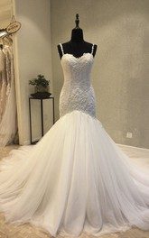Backless Mermaid Sweetheart Wedding Dress With Straps And Lace Appliques