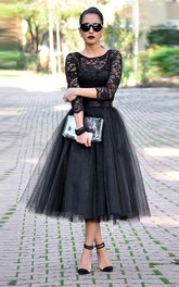 Sexy Black Lace 3-4 Sleeve Prom Dresses 2018 Tulle Tea-Length