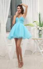 Short-Length Sweetheart A-Line Ruched Dress With Crystal Detailing Zipper Back