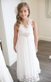 Floor-Length V-neck Boho Ethereal  Sleeveless Empire Petite Dress For Flowergirl