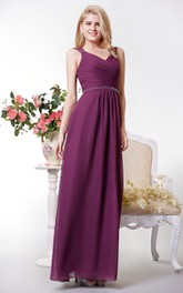 Graceful A-line Chiffon Long Dress With Beaded Waist