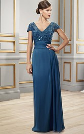 Floor-Length Sequined Cap Sleeve V-Neck Chiffon Formal Dress
