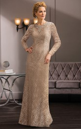 Long-Sleeved Long Lace Mother Of The Bride Dress With Jeweled Neckline