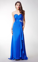 Long Sexy Brooched Satin Chiffon Dress