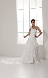 One-Shoulder A-Line Ruched Single Strap and Gown With Flower