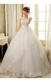 Gorgeous Sweetheart Appliques Beads Wedding Dresses 2018 Ball Gown Tulle Bridal Gown