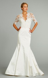 Delicate 3-4 Sleeve Lace Bodice Satin Mermaid Dress With Keyhole Back