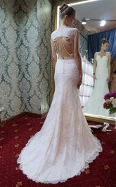 Sleeveless Lace A-Line Wedding Dress With Beaded Keyhole Back