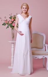 Graceful V-neck V-back A-line Chiffon Long Dress With Cap Sleeves