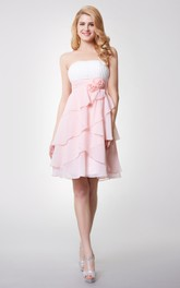 Strapless Empire Tiered Short Chiffon Dress With Ruching