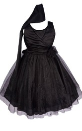 Sleeveless A-line Tulle Dress With Pleats and Flower